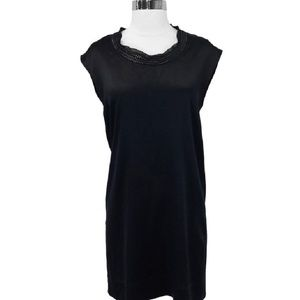 Theory W/Chain Black Silk Shift Dress